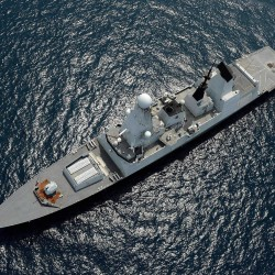 Royal Navy destroyer HMS Daring in the South China Sea on her way to assist the Philippines after devastation of Typhoon Haiyan.