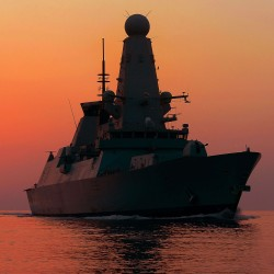 Destroyer HMS Dragon at sunset during her patrol in the Middle East in 2013