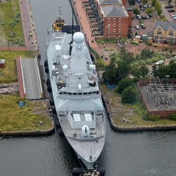 HMS Duncan sails into Cardiff for the NATO Summit.