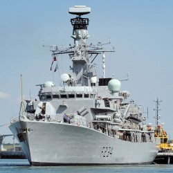 HMS Iron Duke leaving her home port of Portsmouthin June 2014 for a six month deployment to the South Atlantic.